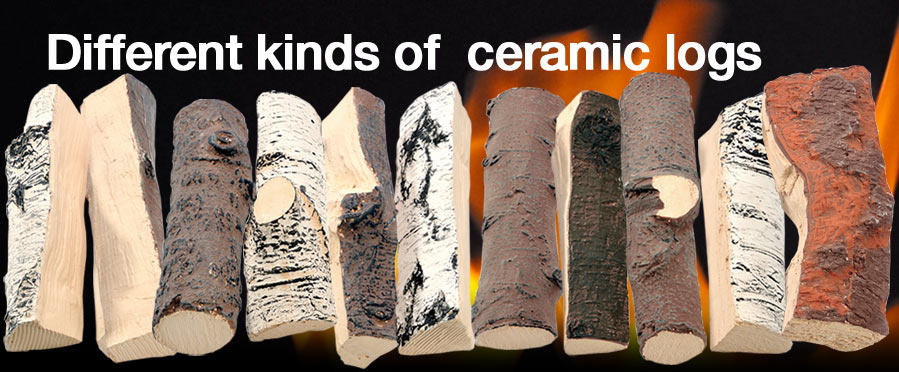 Different kinds of ceramic logs